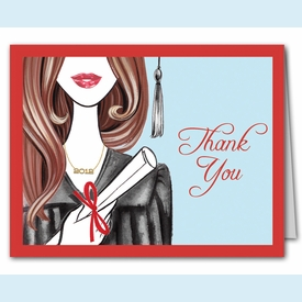 Glamorous Grad Thank You Notes (Brunette) - click to enlarge