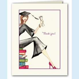 Grad on Books Thank You Notes - click to enlarge