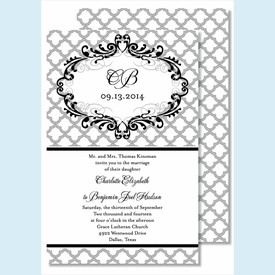 Gray Scallop Large Flat Invitation - click to enlarge