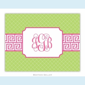 Greek Key Band Pink Folded Notes (set/25) - click to enlarge