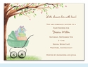 Green Beautiful Bassinet Invitation
