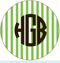 Green Vert. Stripe Personalized Magnet