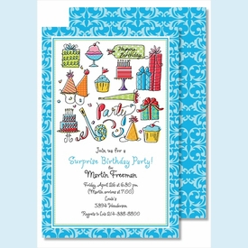Happy Birthday Boy Large Flat Invitation - click to enlarge