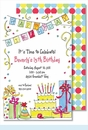 Happy Birthday Party Large Flat Invitation