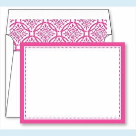 Hot Pink Border Small Flat Cards w/Coordinating Liner - click to enlarge