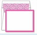 Hot Pink Border Small Flat Cards w/Coordinating Liner