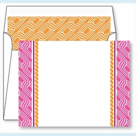 Hot Pink Chain Border Small Flat Cards w/Coordinating Liner - click to enlarge