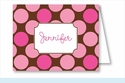Hot Pink/Chocolate Polka Dots Note Cards