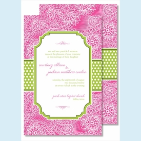 Hot Pink Floral Paisley w/Lime Dotted Stripe Large Flat Invitation - click to enlarge