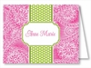 Hot Pink Floral Paisley w/Lime/White Stripe Note Cards