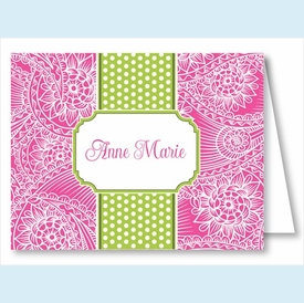Hot Pink Floral Paisley w/Lime/White Stripe Note Cards - click to enlarge