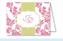 Hot Pink Floral w/Lime Dotted Stripe Note Cards