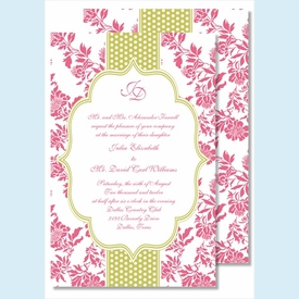 Hot Pink Floral with Lime Dotted Stripe Large Flat Invitation - click to enlarge