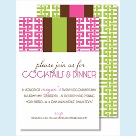 Hot Pink Gazebo w/Chocolate/Lime Stripe Medium Flat Cards - click to enlarge