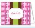 Hot Pink Gazebo w/Chocolate/Lime Stripe Note Cards