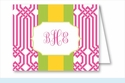 Hot Pink Trellis w/Lime/Yellow Stripe Note Cards