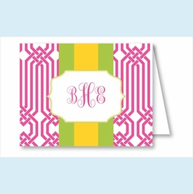Hot Pink Trellis w/Lime/Yellow Stripe Note Cards - click to enlarge