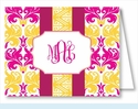 Hot Pink/Yellow Damask w/Fucshia/Yellow Stripe Note Cards
