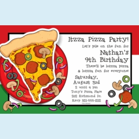 Izza Pizza Party Invitation - click to enlarge