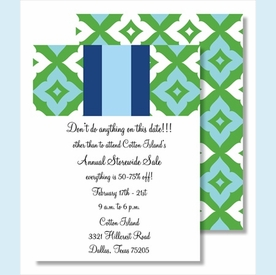 Kelly/Light Blue Fancy Diamond & Stripe Small Flat Cards - click to enlarge