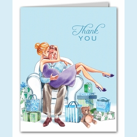 Kisses for Baby Blue Thank You Notes (Blonde) - click to enlarge