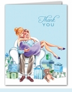 Kisses for Baby Blue Thank You Notes (Blonde)