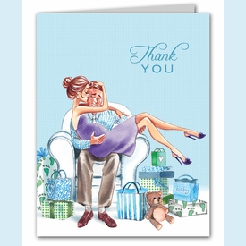Kisses for Baby Blue Thank You Notes (Brunette) - click to enlarge
