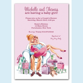 Kisses for Baby Pink Invitation (Blonde) - click to enlarge
