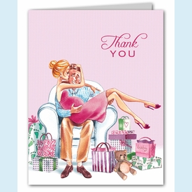 Kisses for Baby Pink Thank You Notes (Blonde) - click to enlarge