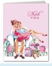 Kisses for Baby Pink Thank You Notes (Brunette)