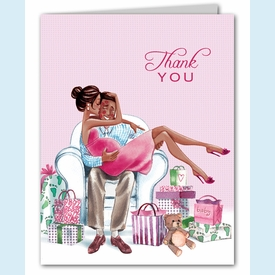 Kisses for Baby Pink Thank You Notes (Multicultural) - click to enlarge