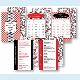 Kitchen Conversion Cards - Preppy Red & Black - click to enlarge