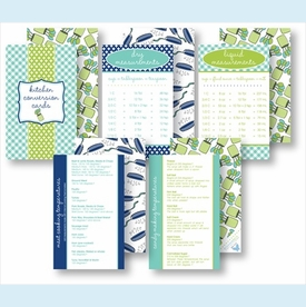 Kitchen Conversion Cards - Preppy Turquoise & Lime - click to enlarge