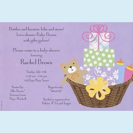 Lavender Baby Basket Invitation - click to enlarge
