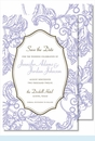 Lavender Wood Cut Floral Large Flat Invitation