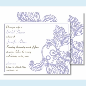 Lavender Wood Cut Floral Small Flat Cards - click to enlarge