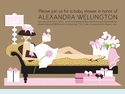 Leopard Chairs Mom Pink Baby Invitation