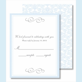 Light Blue Elegant Border Small Flat Cards - click to enlarge