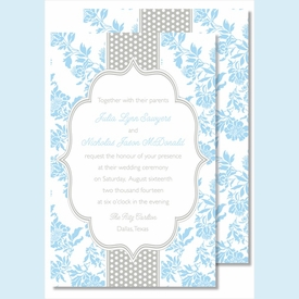 Light Blue Floral/Gray Dotted Stripe Large Flat Invitation - click to enlarge