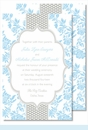 Light Blue Floral/Gray Dotted Stripe Large Flat Invitation