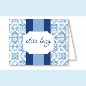 Light Blue Quilt w/Navy/Light Blue Stripe Note Cards - click to enlarge