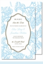 Light Blue Wood Cut Floral Large Flat Invitation