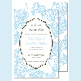 Light Blue Wood Cut Floral Large Flat Invitation - click to enlarge