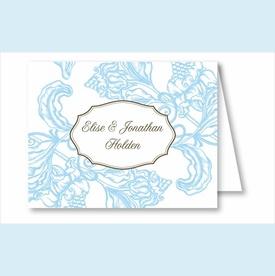 Light Blue Wood Cut Floral Note Cards - click to enlarge