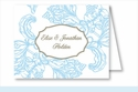Light Blue Wood Cut Floral Note Cards