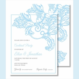 Light Blue Wood Cut Floral Small Flat Cards - click to enlarge