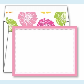 Light Pink Border Small Flat Cards w/Coordinating Liner - click to enlarge
