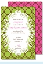 Lime/Chocolate Scalloped Dots Large Flat Invitation