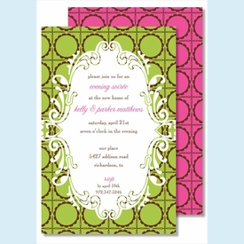 Lime/Chocolate Scalloped Dots Large Flat Invitation - click to enlarge