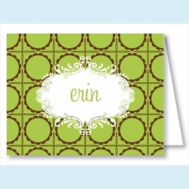 Lime Chocolate Scalloped Dots Note Cards - click to enlarge